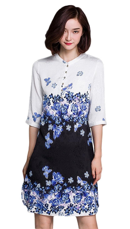 Bigood Chic Silk Floral 3/4 Sleeve Women Long Shirt Skirt