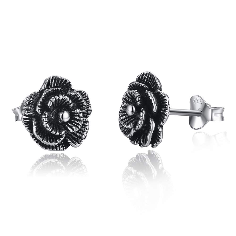 Sterling Silver Black Rose Flower Stud Earrings for Women