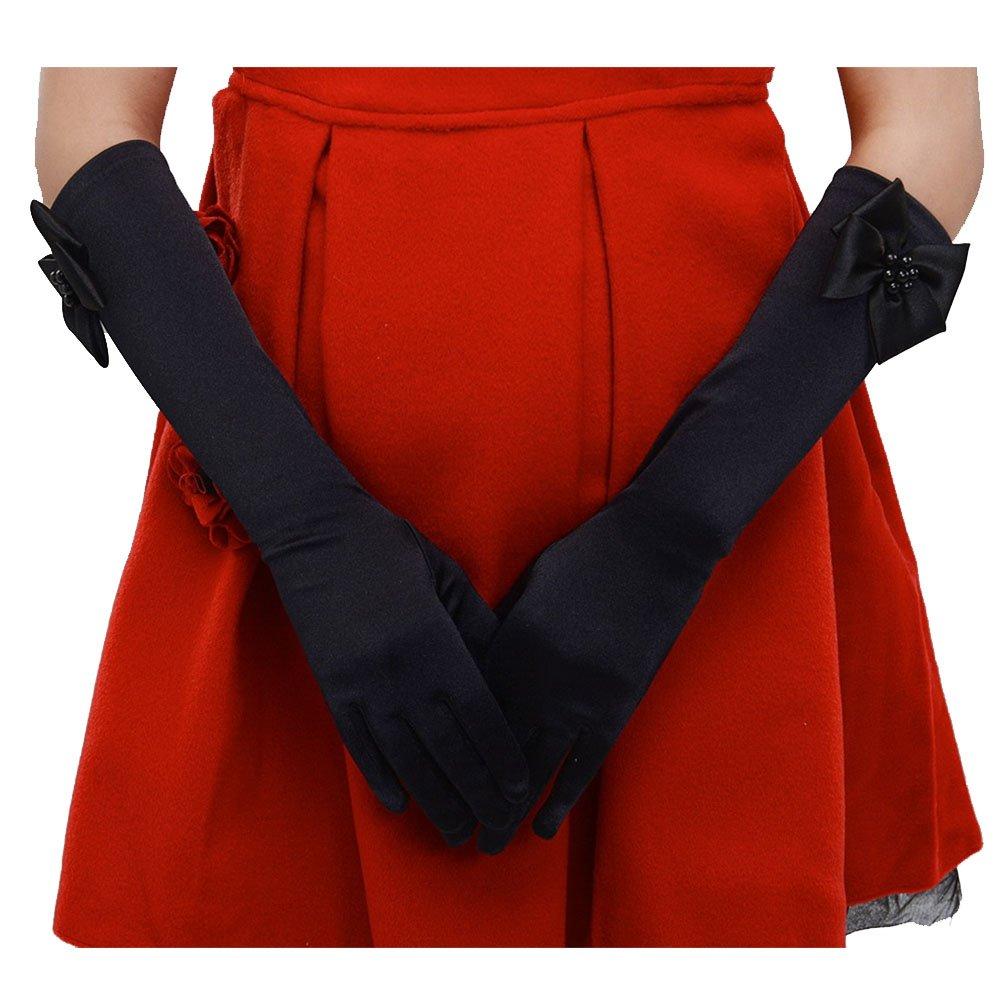 Tandi Favorite Girls Gorgeous Satin Fancy Stretch Dress Formal Pageant Party Gloves Black)