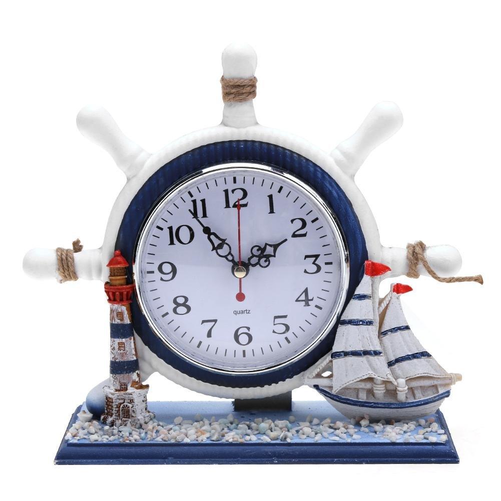 Demiawaking Nautical Wooden Mantel Clock Decorative Rudder Desk Shelf Clock for Living Room Kids Bedroom Home Decoration (Lighthouse and Sailboat)