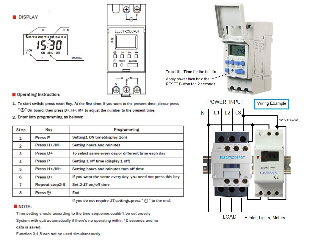 7 Day 24 Hour Electronic Programmable Timer 120V with 50 Amp 3 Pole Contactor 30A, 40A 50A 3phase