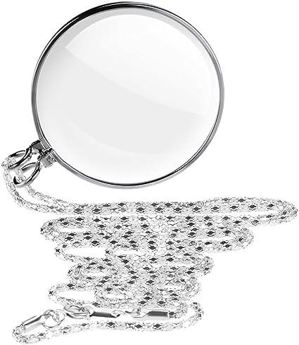 5X Ingrandimento Pocket Magnifier Collana pendente in vetro ingranditore Lente di lettura portatile Lente di ingrandimento Monocolo per libri Artigianato Gioielli Hobby 42mm Diametro Lente