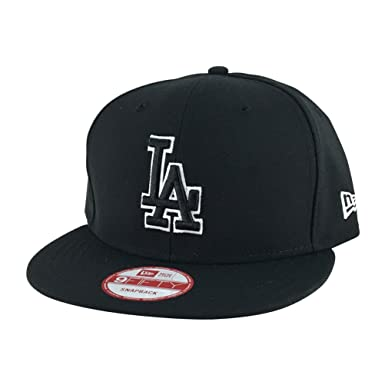 c74faa99651 Image Unavailable. Image not available for. Color  New Era 9fifty Los  Angeles Dodgers Black White Outline Snapback ...