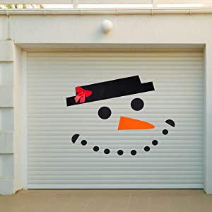 PAMASE Snowman Face Christmas Garage Door Decoration- DIY Snowman Non-Woven Archway Door Decoration with Hat Bow Eyes Nose Teeth for Window Car Decor