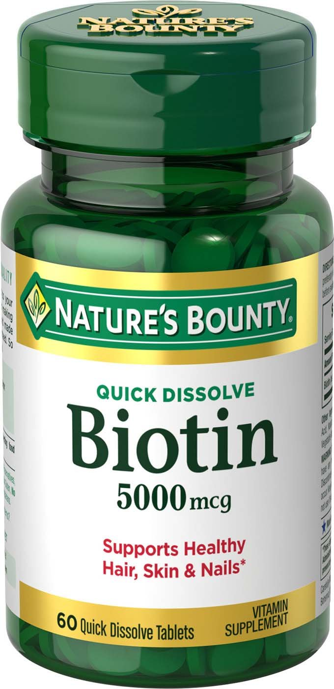Nature's Bounty Biotin Supplement, Supports Healthy Hair, Skin, and Nails, 5000mcg, 60 Tablets
