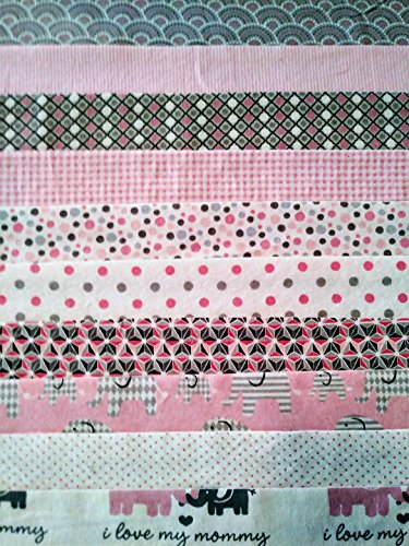 Joanns  Kaufmann  Moda  Snuggle  Comfy  Cozy Contemporary Pre Cut Flannel Quilting Pieces  20 Pc Jelly Rolls  Pink  Gray Elephants  2 5  X 40  Jelly Rolls