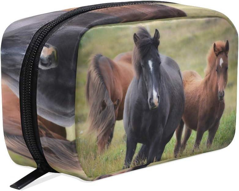 Bolsa de cosméticos con diseño de caballo, para mujeres y niñas, bolsa de maquillaje con cremallera, neceser para cosméticos, multifunción.