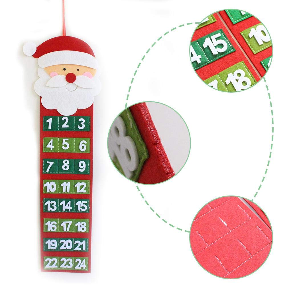 Volwco Christmas Advent Calendar 3D Santa Christmas Snowman Felt Haning Xmas Advent Calendar Reusable Countdown to Christmas Calendar with 24 Days Pockets for Kids Christmas Decorations