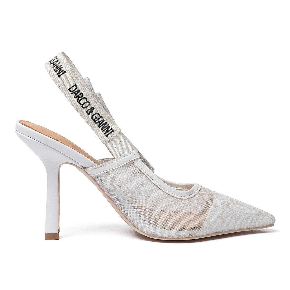 Darco & Gianni Women's Slingback Slip Pump Shoe Dress Sandals Slip Slingback On Lace Mesh Pointed Toe Mid Kitten Flat Heel for Ladies Summer B07B5111W2 12 B(M) US High Heel White cfa2c8