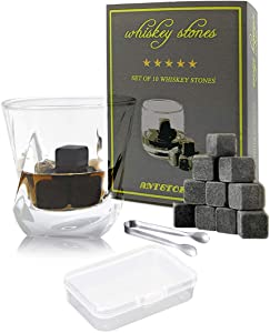 Whiskey Stones Set Box - 10 Chilling Rocks and Tongs, Pure Soapstone for Cold Whiskey Wine Beverages (grey)