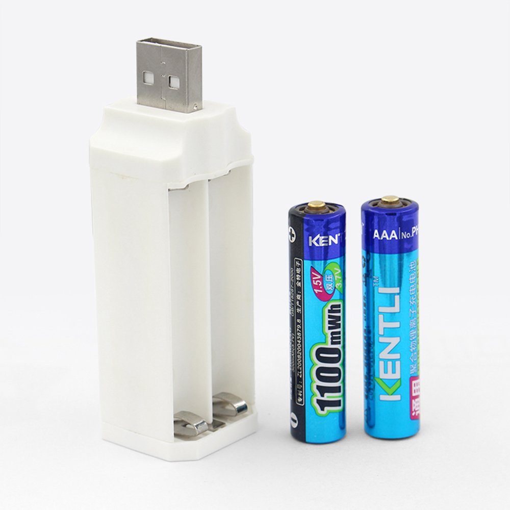 KENTLI New 4 ports USB Protable AAA Li charger + one pair 1.5V 1100mWh Kentli Lithium Li-ion Rechargeable AAA Li-polymer Batteries