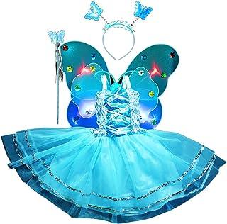 Amosfun Le Ragazze Vestono la Principessa Costume da Fata LED Ali di Farfalla Set per Bambini Ragazze Fata LED Doppi Strati Farfalla Ala Bacchetta Vestito Fascia Party Costume SA32428KDQ22X16HCT1322B