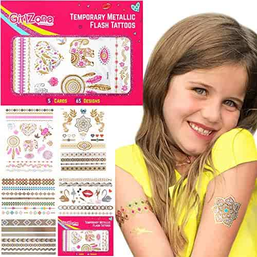 GirlZone: Sparkle Temporary Flash Tattoos for Kids and Girls