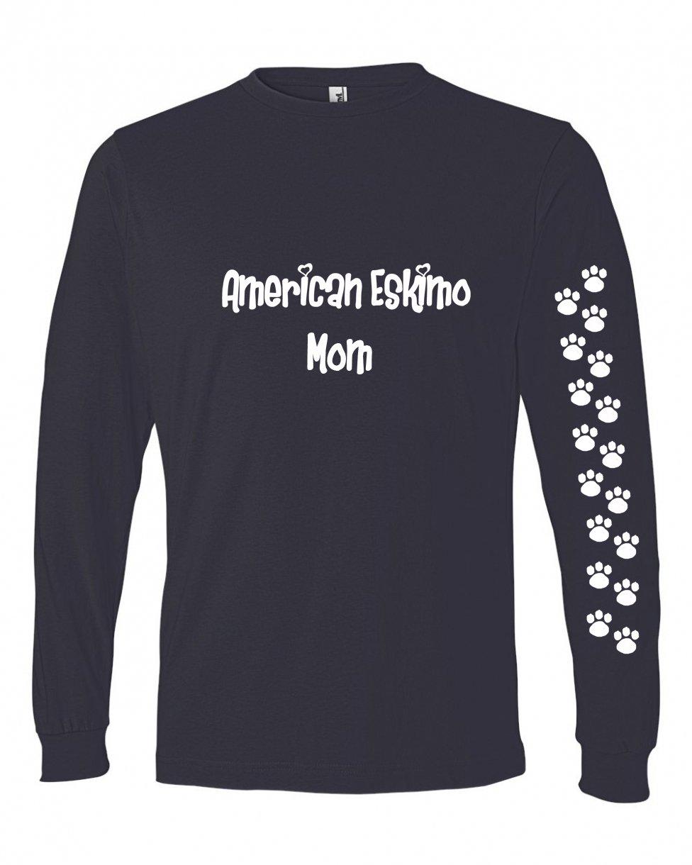 Caroline's Treasures 479M-4432-NAWH-Parent American Eskimo Mom Tshirt Ladies Cut Blue Long Sleeve, , multicolor
