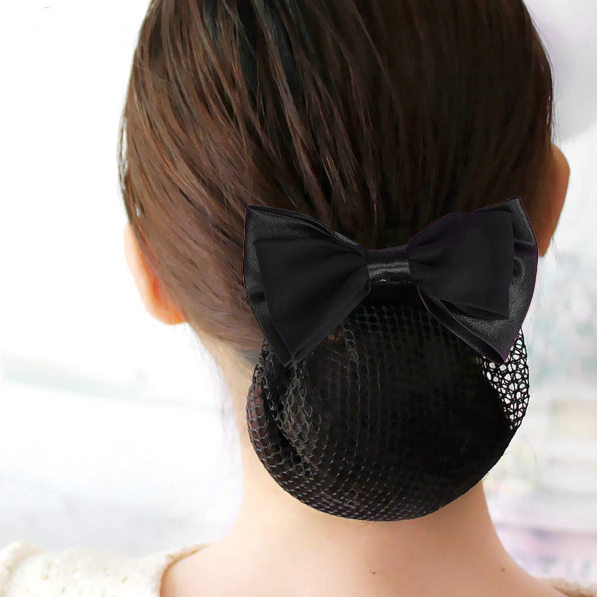 Beaupretty 2pcs Hair Snood Net Barrette Mesh Clip Elastic Butterfly Bun Bow Headdress for Lady Women Dance Office (Black)