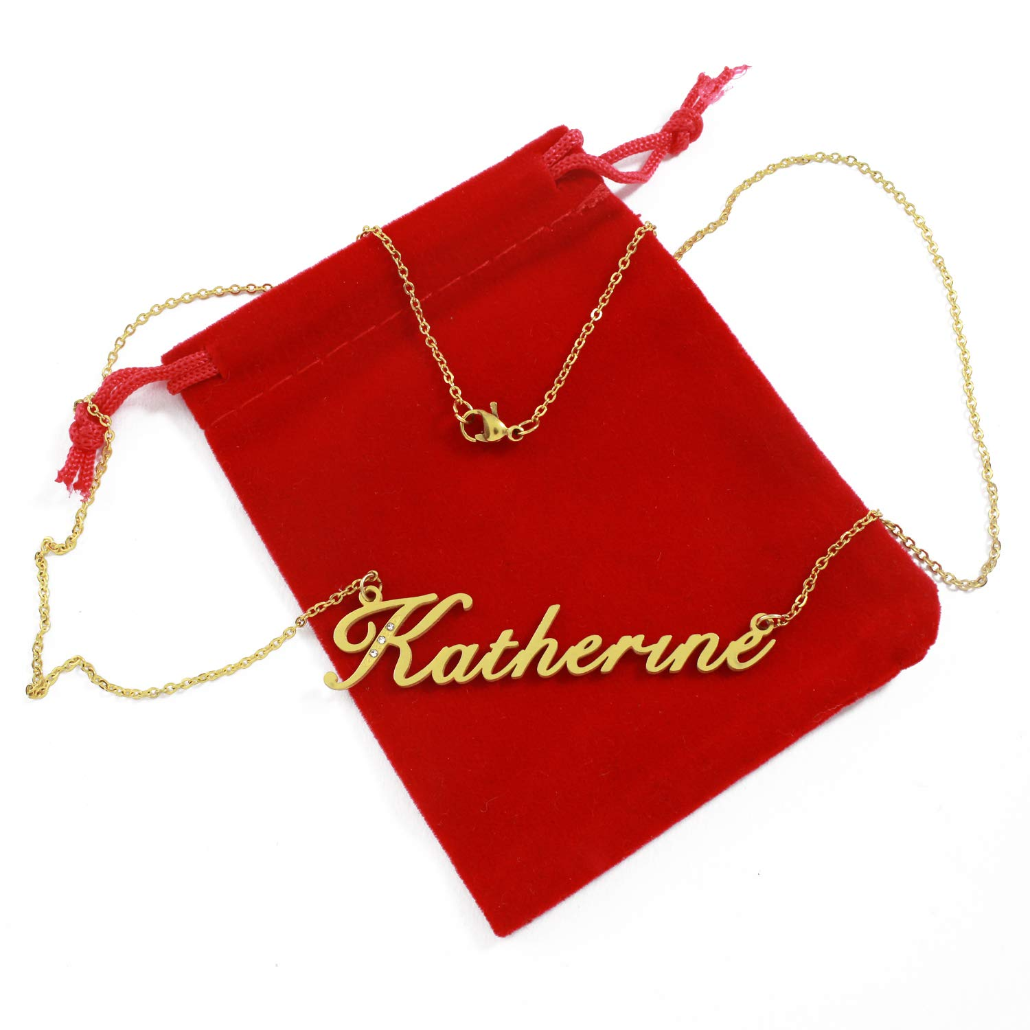 Gold Tone Incl Crystals Zacria Italic Name Necklace Katherine