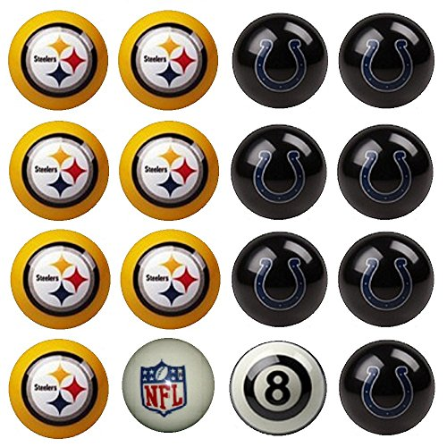 NFL Pittsburgh Steelers vs Indianapolis Colts Pool Ball Billiard Set by Imperial