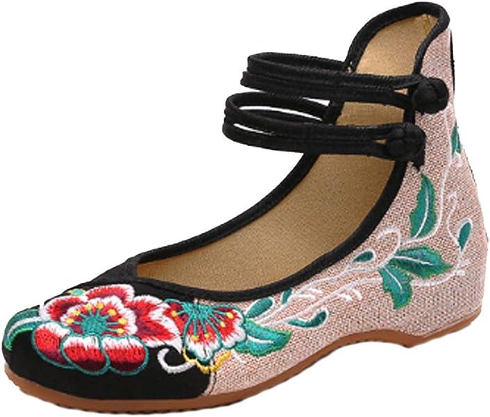 IOSHAPO Zapatos Bordados Floral Tomar la Hebilla Zapatos Solos Zapatos Casuales para Mujeres