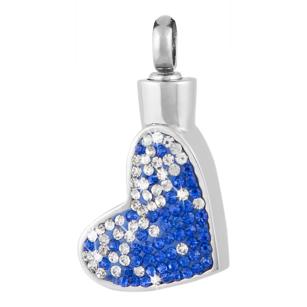 Perfect Memorials Blue Tallulah Heart Stainless Steel Cremation Jewelry