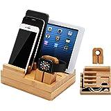 iCozzier iWatch Ständer aus Bambus Ladestation für mehrere Geräte/ Kabel-Organizer für Apple Watch, iPhone, iPad, Apple Watch Halterung/ Tisch-Organizer für allgemeine Smartphone und Tablets