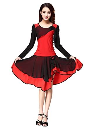 625599021996e Minitoo YC010# Women's Long Sleeve Latin Ballroom Salsa Tango Dance Dress  Skirt Red Black Medium