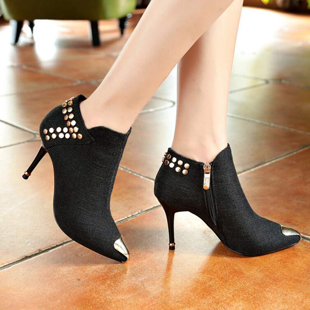 ZHRUI Stiefel Damen Schuhe Stiefeletten Martin Frauen Warm Martin Stiefeletten Stiefel Spitzschuh Niet Stiefel High Heel Ankle Stiefel (Farbe   Schwarz, Größe   35 EU) 2708a8