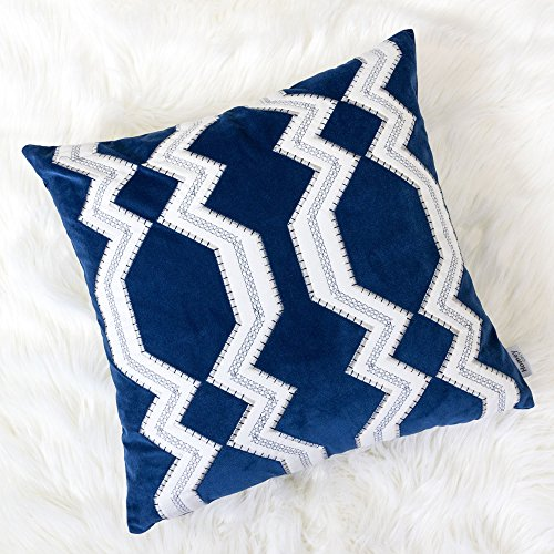 Homey Cozy Applique Navy Velvet Throw Pillow Cover,Ocean Blue Series Geometric Tie Nautical Decorative Pillow Case Coastal Beach Theme Home Decor 20x20,Cover Only