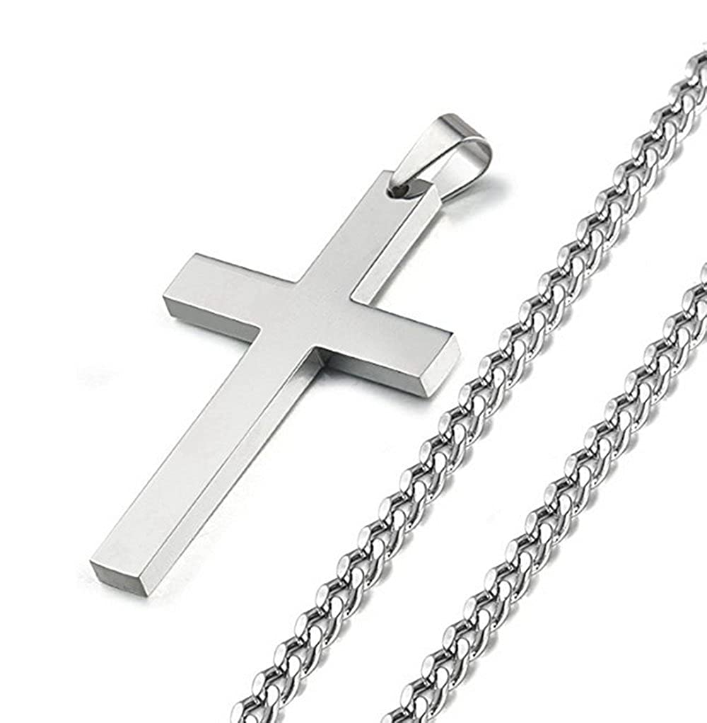 LAOFU 925 Sterling Silver Cross Pendant Chain Necklace for Men Women 22-24 Inches 22 Chain) YXL01138