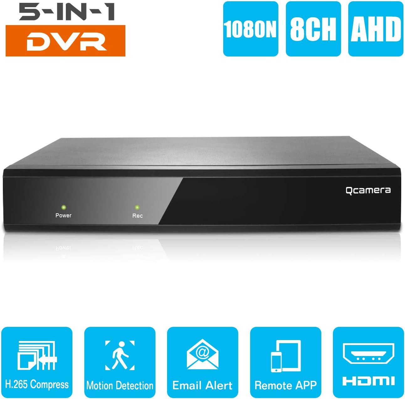 Q-camera 8CH 5M-N 1080N Full High Definition Hybrid AHD TVI CVI Analog Onvif IP DVR H.265 CCTV Video Recorder P2P Remote Phone Monitoring for Home Security Surveillance System Camera NO HDD