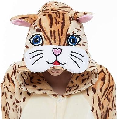 ACOGNA Cat Onesie Adult Costume Women Pajama Halloween Fleece Animal Cosplay Suit