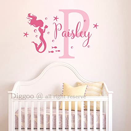 Amazon.com: Personalized Mermaid Name Decal Vinyl Wall Decal ...