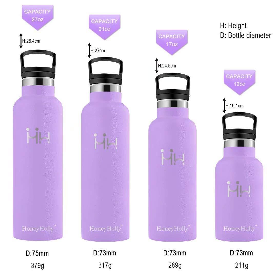 HoneyHolly Botella de Agua Acero Inoxidable sin BPA 350ml/500ml/600ml/750ml, Aislamiento de Vacío de Doble Pared, Botellas Frío/Caliente, ...
