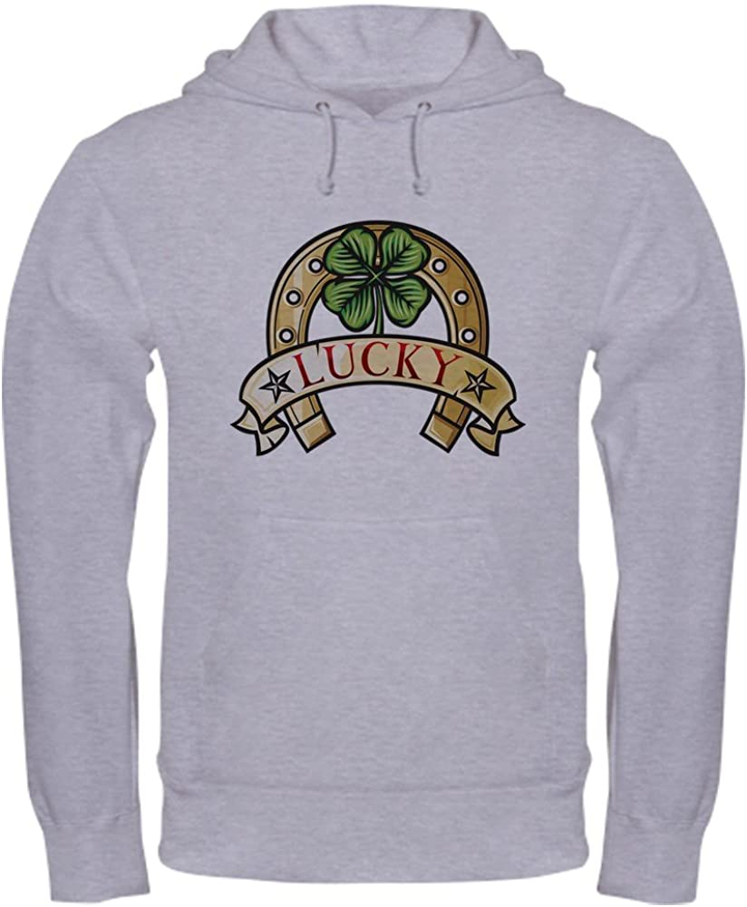 2X Truly Teague Hooded Sweatshirt Lucky Horseshoe With Four Leaf Clover White