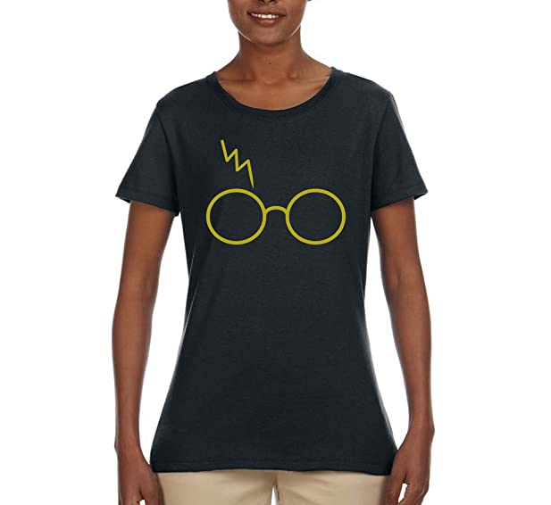6f9a3f848 Gold Harry Potter Glasses and Lightning Scar | Womens Pop Culture Tee  Graphic T-Shirt