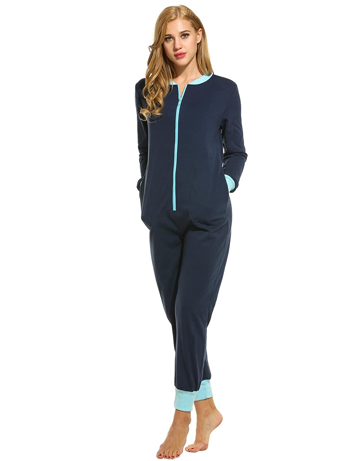 970d1247bbb1 Hufcor Women s Onesie Jumpsuit Non Footed Sleepwear Front Zipper and Side  Pockets Pajamas
