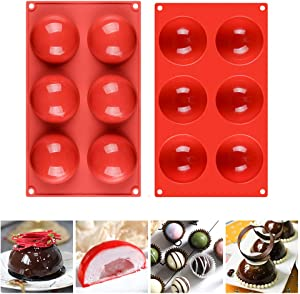 Fimary 3 Inches 6 Holes Half Sphere Silicone Mold For Chocolate, Cake, Jelly, Pudding, Food Grade Round Silicon Molds for Cake Baking (2)