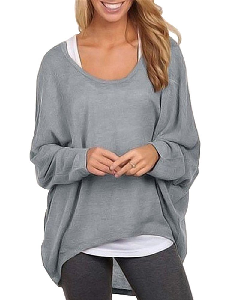 Moollyfox Women's Casual Plus Size Loose Sweater Tops