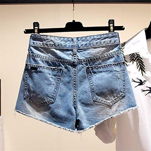 Lettere Oudan Con Ricamo Blu Dechired Chic Pantaloncini Vintage Donna Da Mini Jeans 0rz7q08x