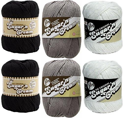 - Lily Sugar n' Cream Variety Assortment 6 Pack Bundle 100 Percent Cotton Medium 4 Worsted (Multicolor)