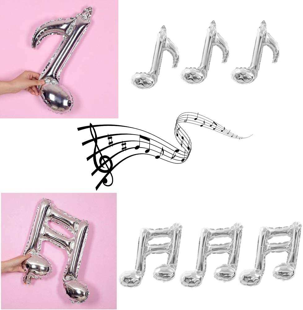 HORUIUS Music Note Balloons Silver Music Note Shaped Foil Mylar Balloons for Birthday Concert Band Bar Stage Music Themed Party Supplies Decoration 24PCS