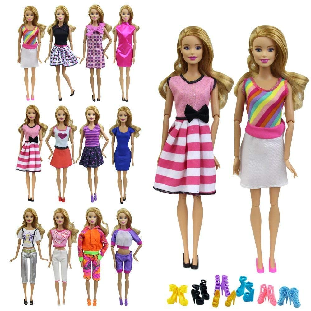 ZITA ELEMENT 10 Items = 5 Fashion Summer Short Wear Clothes Outfits Random Style 5 Shoes for 11.5 Inch Girl Doll Accessories