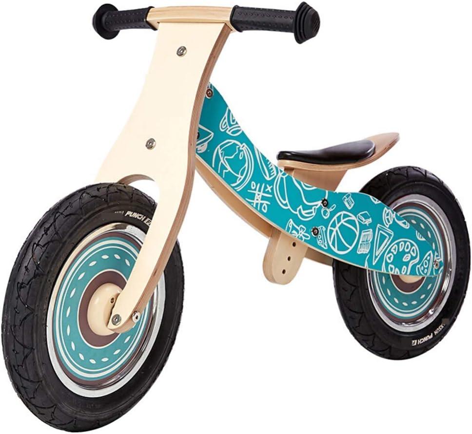 ZLMI Coche de Equilibrio para niños, sin Pedal Equilibrio de Madera Bebé para Bicicleta con Pedal Triciclo Seguro y cómodo 2-6 Cochecito para niños pequeños