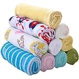 ODN Pack de 8 petites serviettes Coton Doux bébé Débarbouillettes pour bébé Serviettes, couleur aléatoire