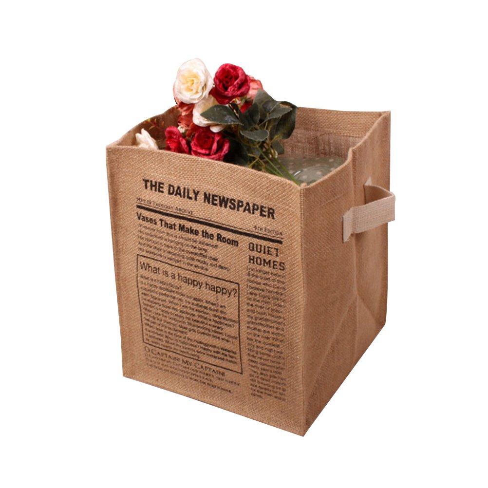 BESTOMZ Storage Basket Jute Organizer Box Jute Storage Bin Toy Storage Clothing Children Books Gift Baskets