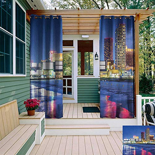 - leinuoyi City, Outdoor Curtain Extra Wide, Resort Casinos on Shore at Night Atlantic City New Jersey United States, for Privacy W120 x L96 Inch Violet Blue Pink Yellow