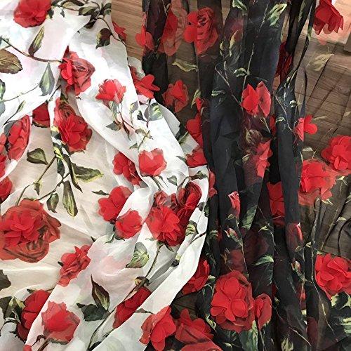 Iriz 55 Chiffon Flowers Print Fabric Lace Fabric With 3d