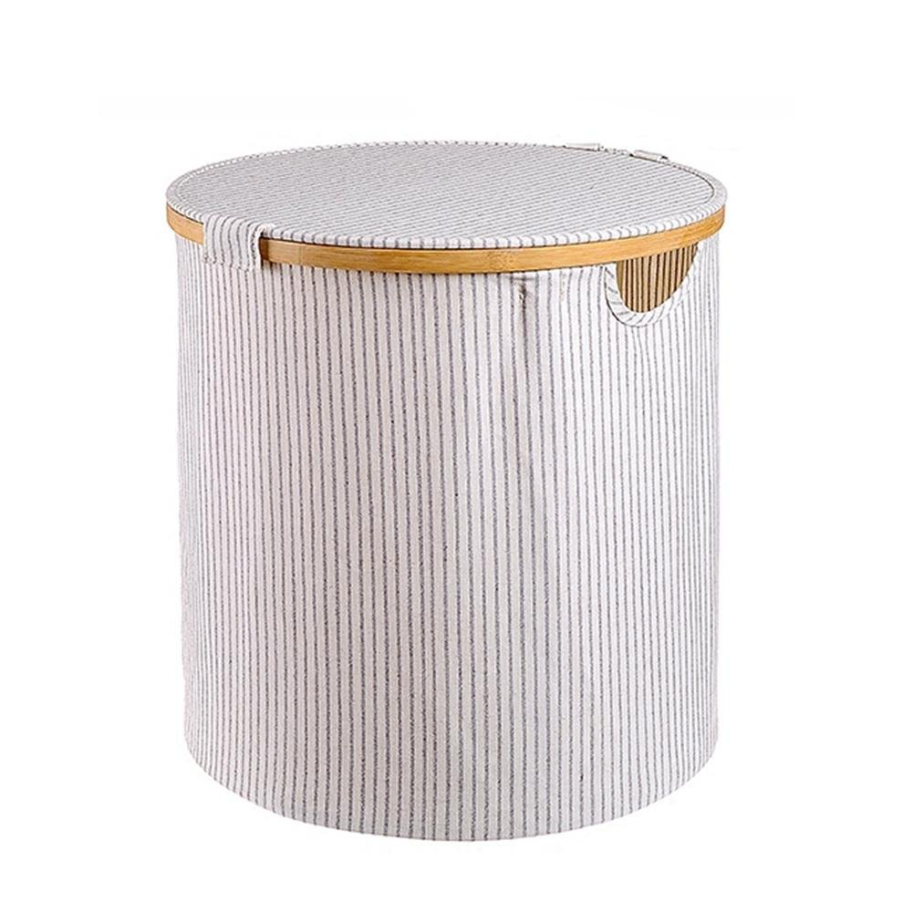 TSAR003 Large Round Folding Corrugated Cloth Laundry Hamper Or Basket Dirty Clothes Storage Waterproof Simple Storage Basket