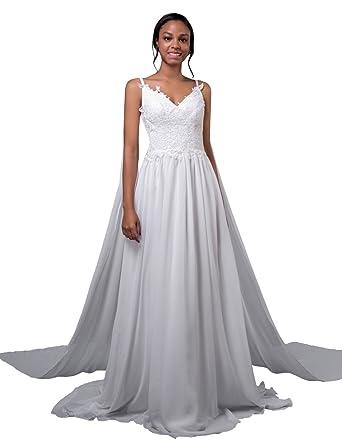 LORIE Chiffon Wedding Dresses Lace White Caped Bridal Dress Beach ...