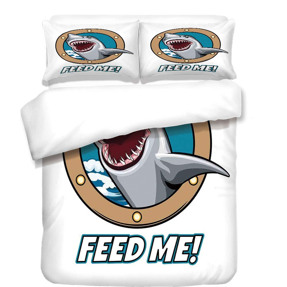 3Pcs Duvet Cover Set,Sea Animal Decor,Funny Vintage Quote with Hungry Hound Shark Head in Ship Window Humor Print,Multi,Best Bedding Gifts for Family/Friends