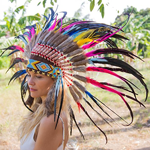 [Novum Crafts Feather Headdress | Native American Indian Inspired | Multicolored] (Indian Man Costume)